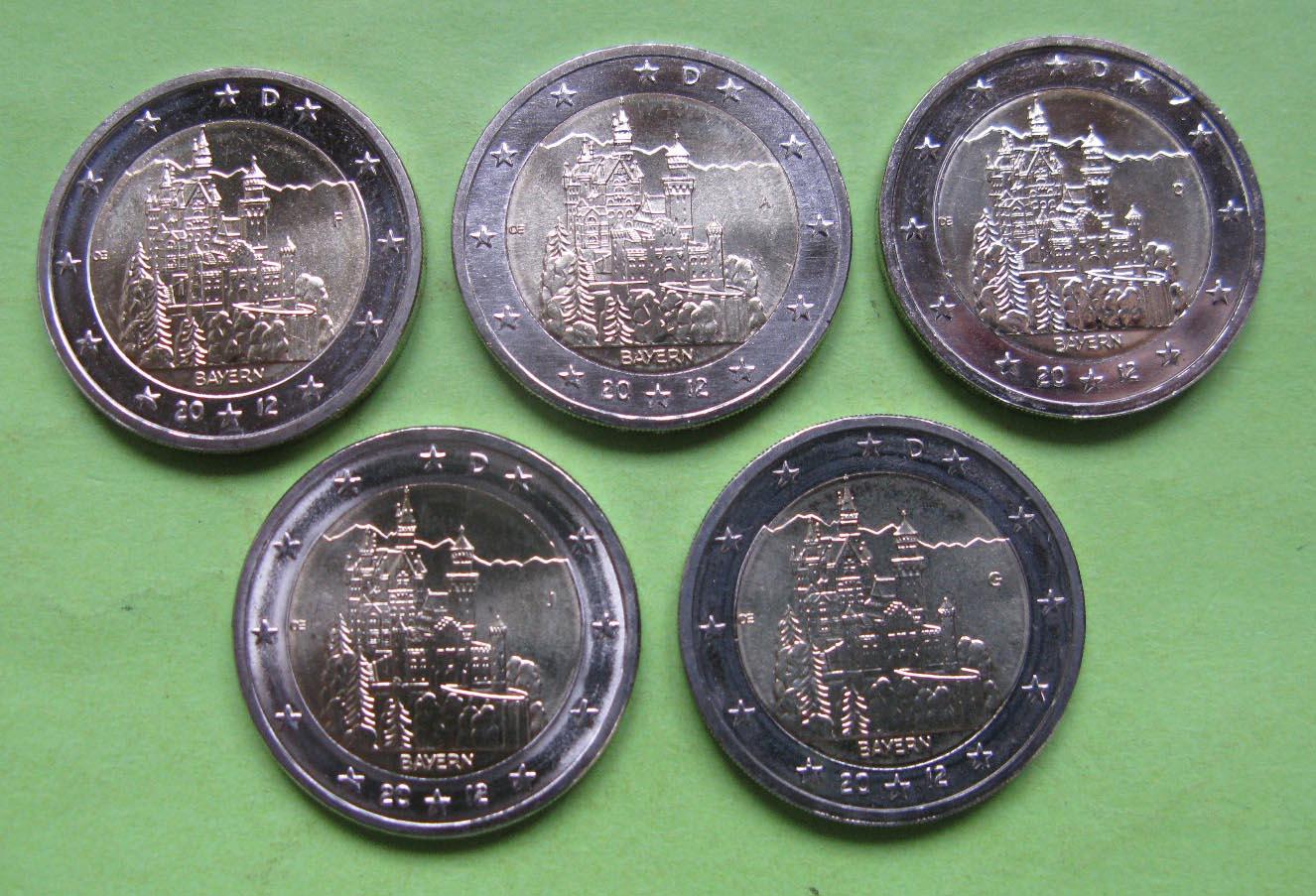 Германия 2 евро 2012 г. Бавария (A,D,F,G,J ), UNC
