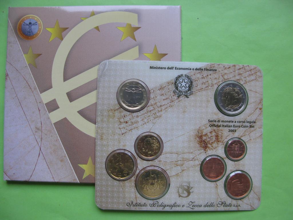 Италия, официальный набор евро монет 2003 г.