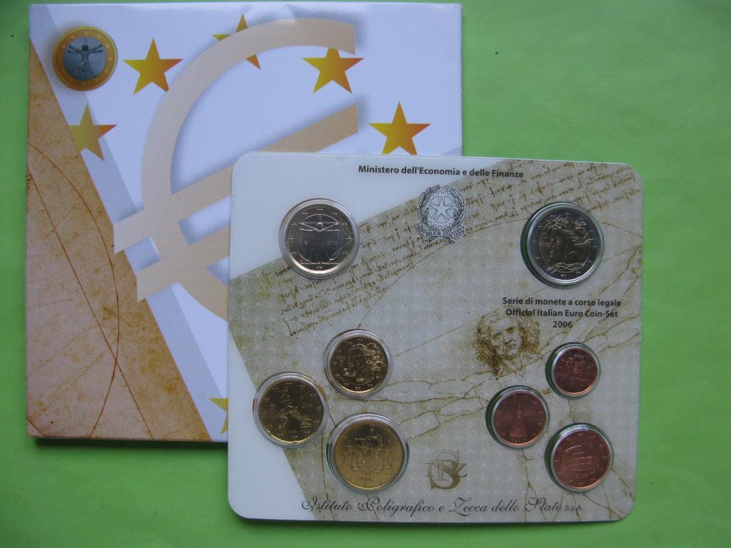 Италия, официальный набор евро монет 2006 г.