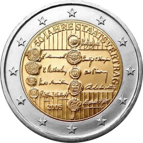 Австрия 2 евро 2005 г. 50 лет договору о нейтралитете