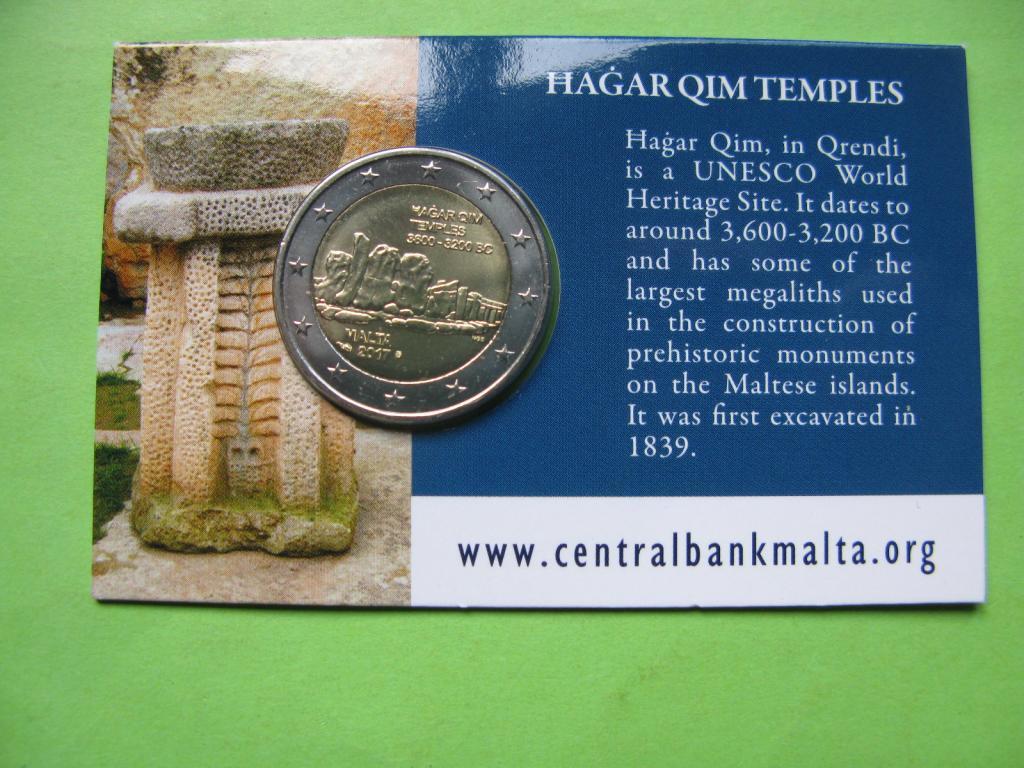 Мальта 2 евро 2017 г. Мегалитический комплекс Хаджар- Ким (в карточке)