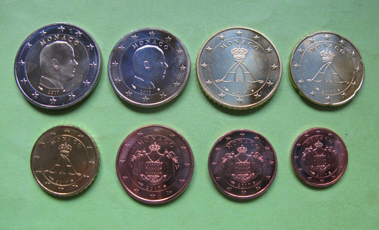 Монако , набор евро монет 2011 г.  UNC.
