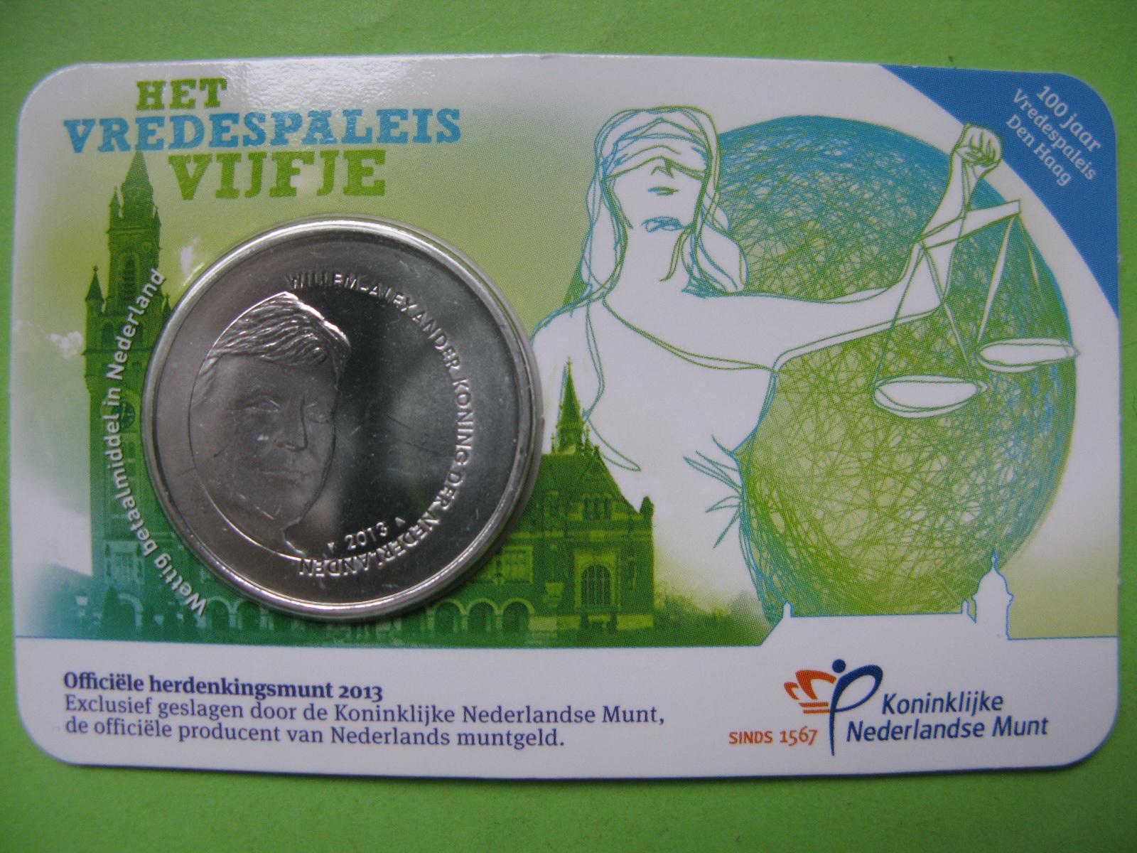 Нидерланды 5 евро 2013 г. Дворец мира в Гааге