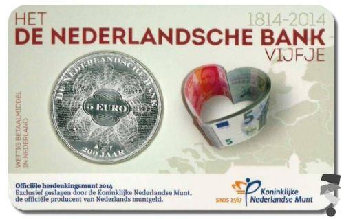 Нидерланды 5 евро 2014 г.  200 лет Банку Нидерландов