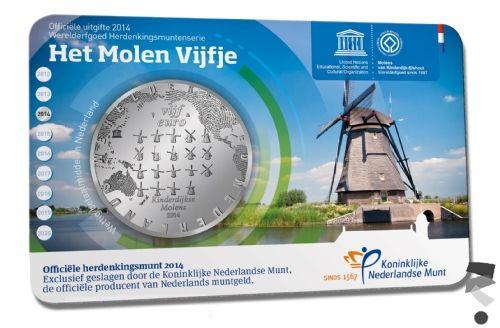 Нидерланды 5 евро 2014 г.  Ветряные мельницы Киндердейка