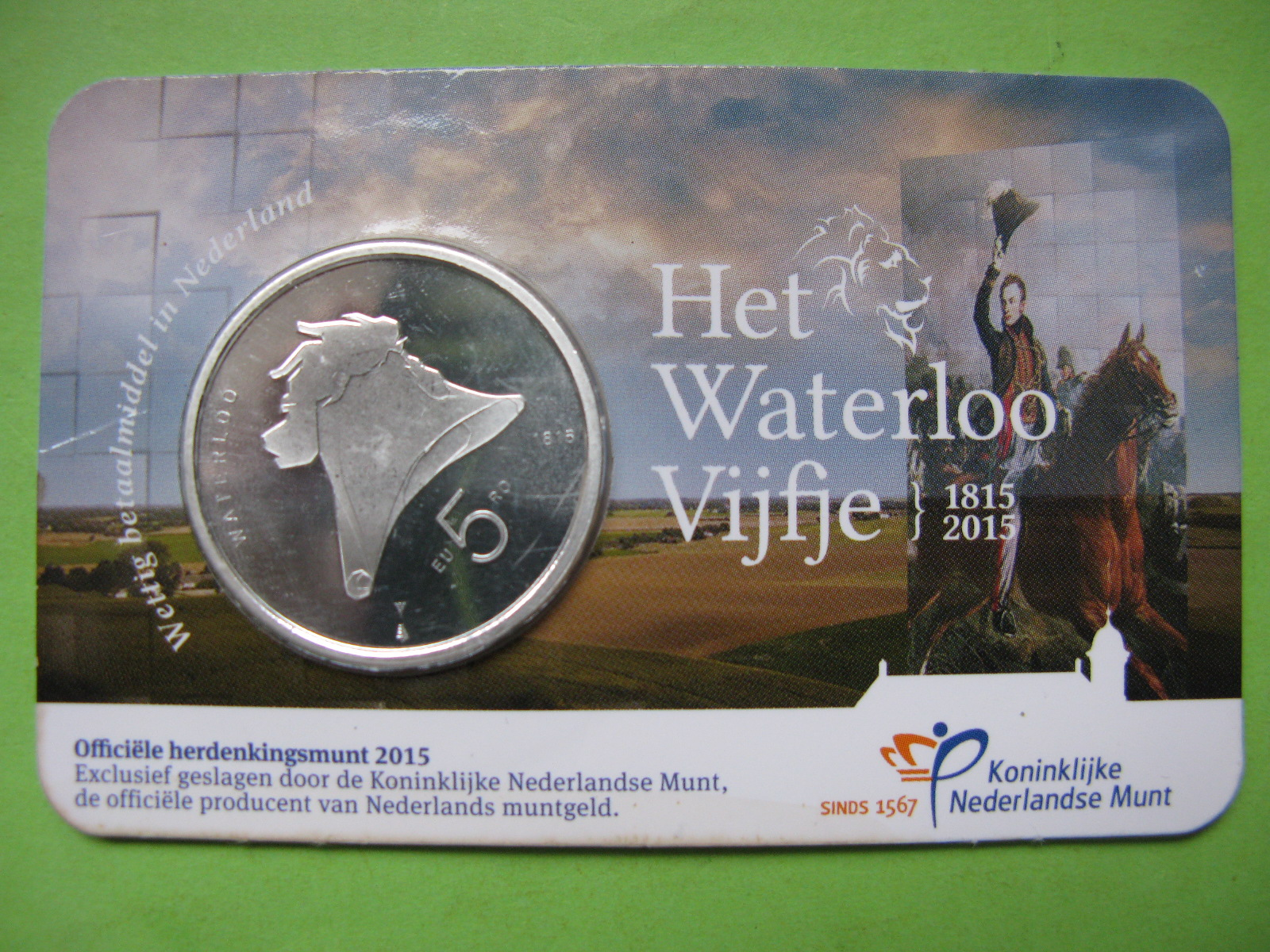 Нидерланды 5 евро 2015 г. 200-летие битве при Ватерлоо
