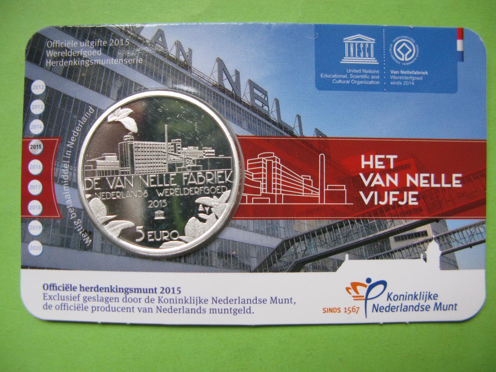 Нидерланды 5 евро 2015 г.  Фабрика Ван Нелле