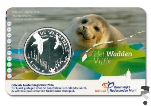 Нидерланды 5 евро 2016 г.  Ваттовое море