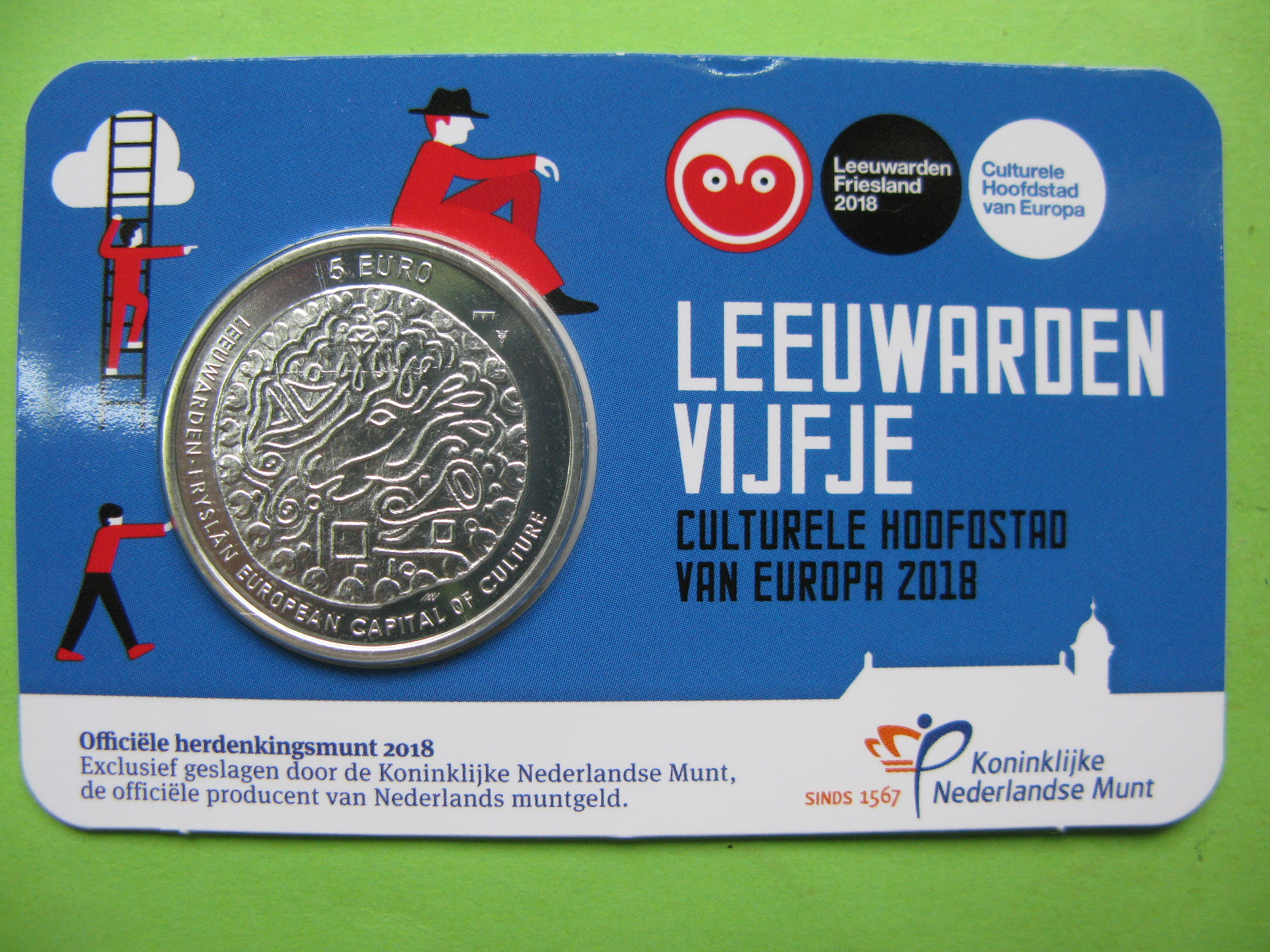 Нидерланды 5 евро 2018 г.  Леуварден — Культурная столица Европы