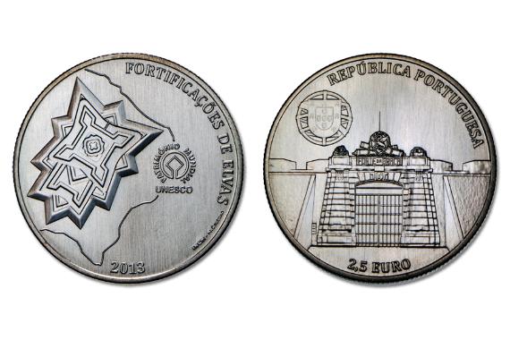 Португалия 2,5 евро 2013 г. Город Элваш и его укрепления