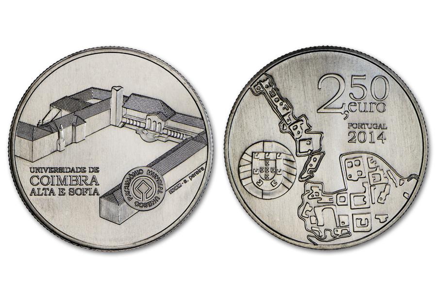 Португалия 2,5 евро 2014 г. Коимбрский университет