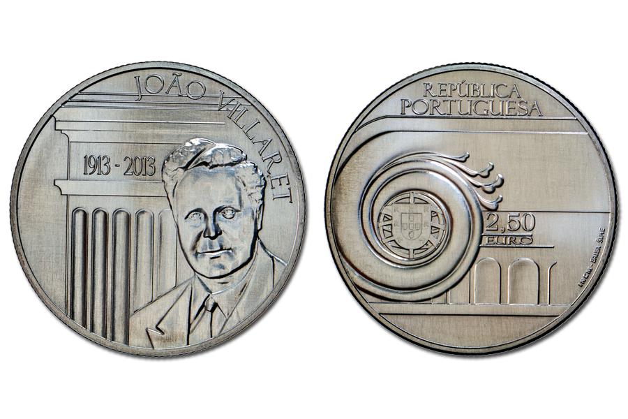 Португалия 2,5 евро 2013 г. 100 лет со дня рождения Жуана Вилларета