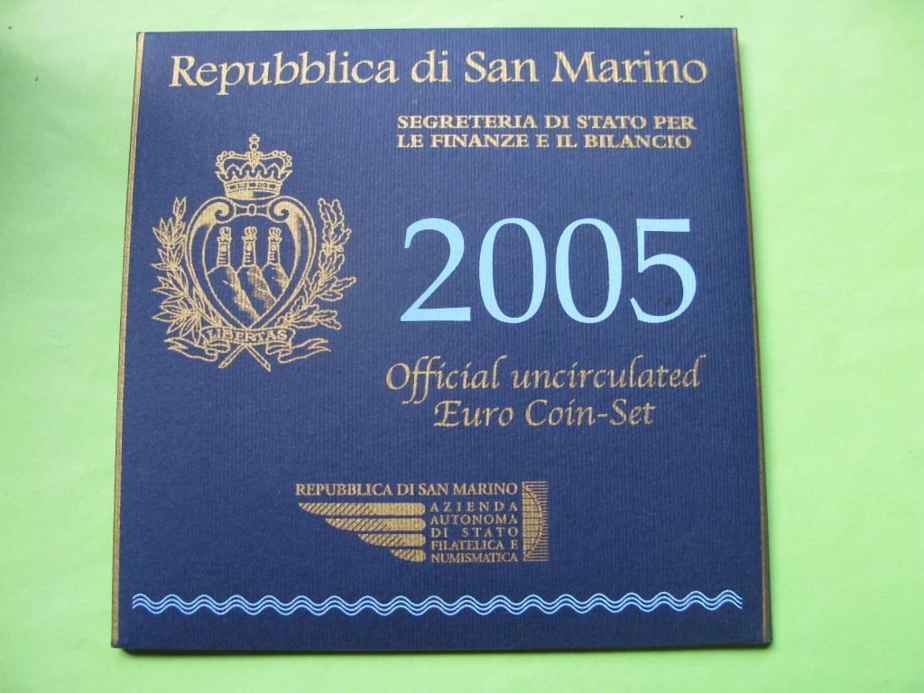 Сан -Марино официальный набор евро монет 2005 г.