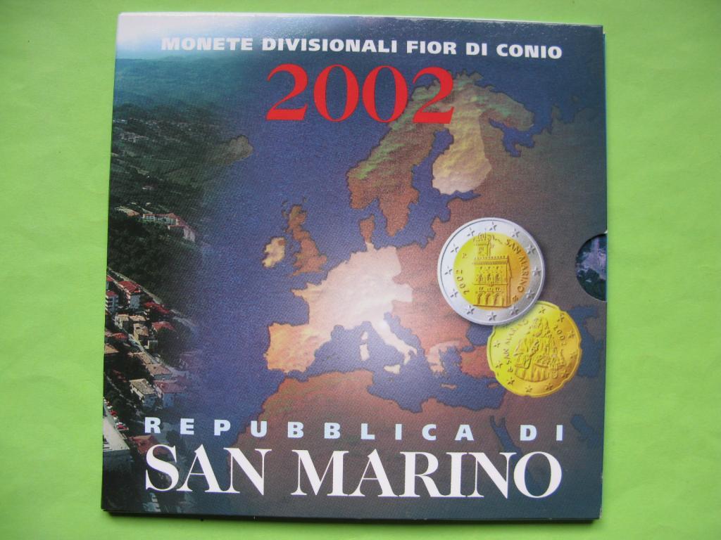 Сан -Марино официальный набор евро монет 2002 г.