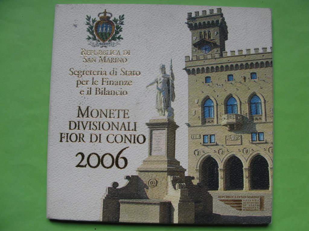 Сан -Марино официальный набор евро монет 2006 г.