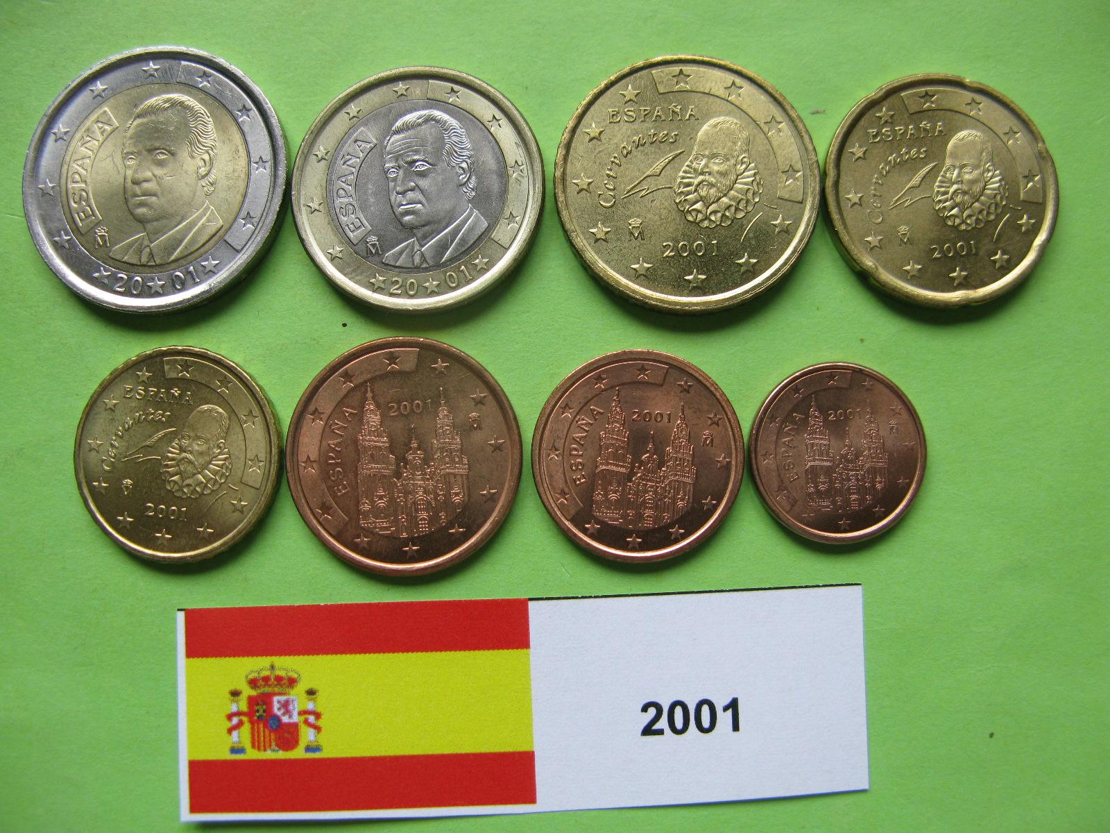 Испания набор  евро 2001  UNC.
