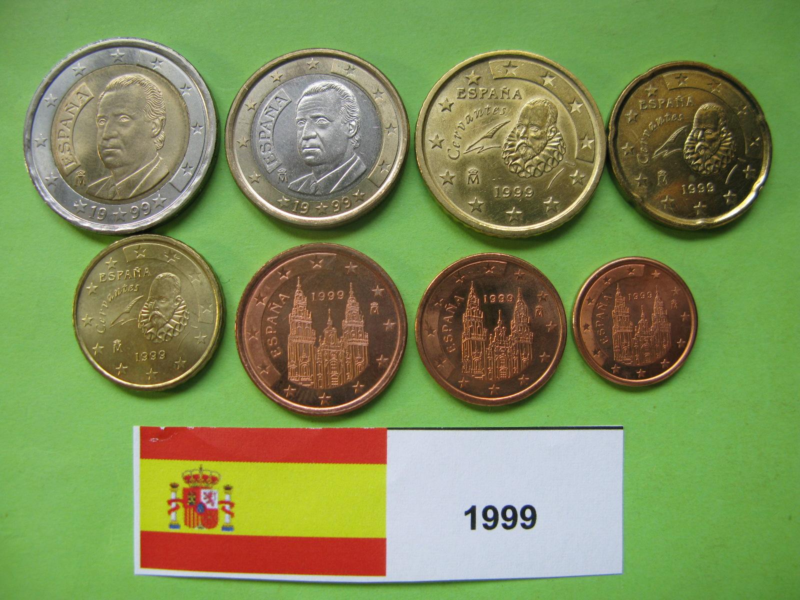 Испания набор евро  1999  UNC.