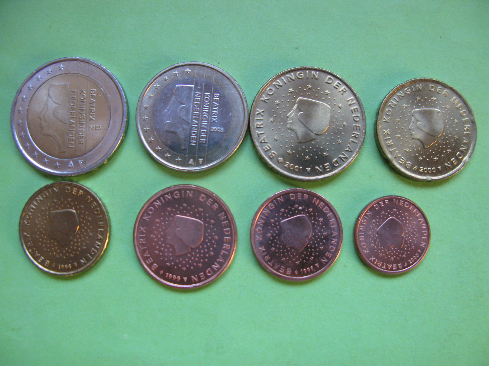 Нидерланды  , набор евро монет  1999-2003 г , UNC.