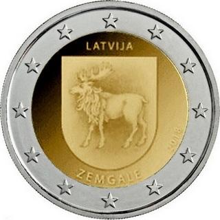 Латвия 2 евро 2018 г. Историческая область Земгале