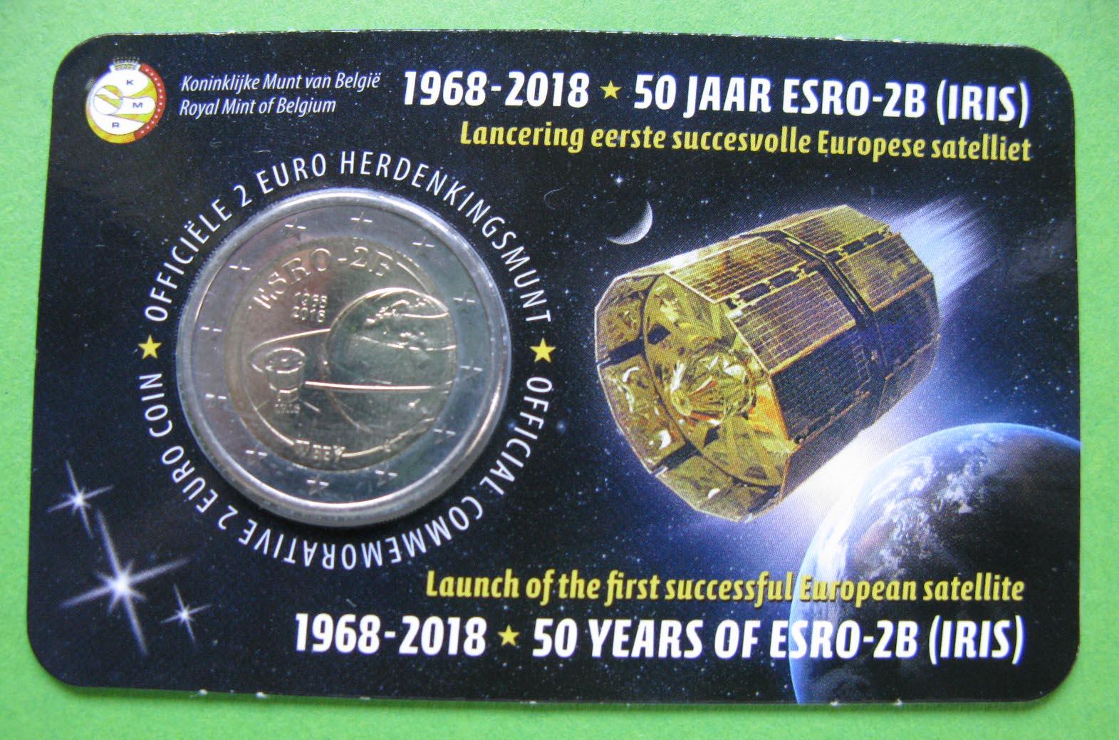Бельгия 2 евро 2018 г. 50-летие запуска первого европейского спутника ESRO 2B