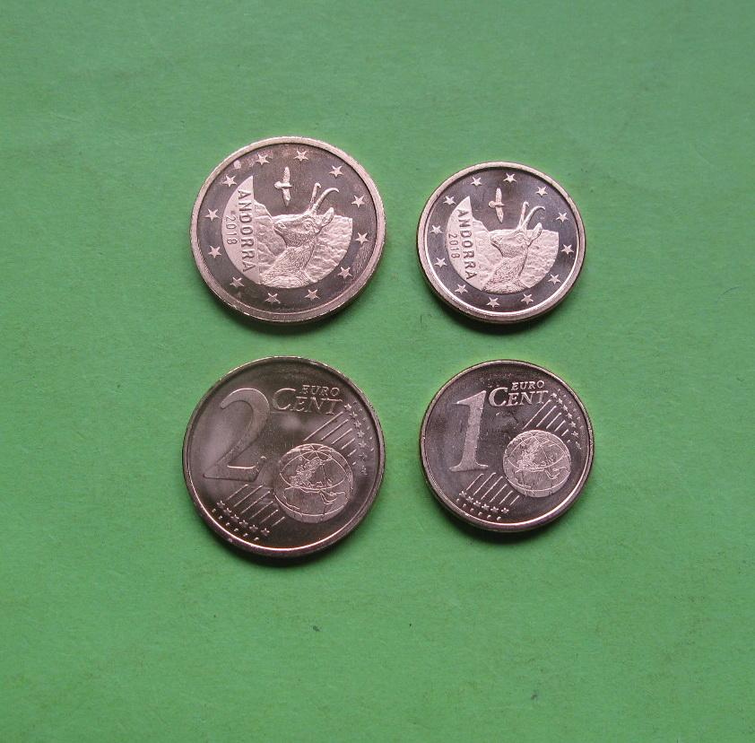 Андорра 1 и 2 цента 2018 г. UNC