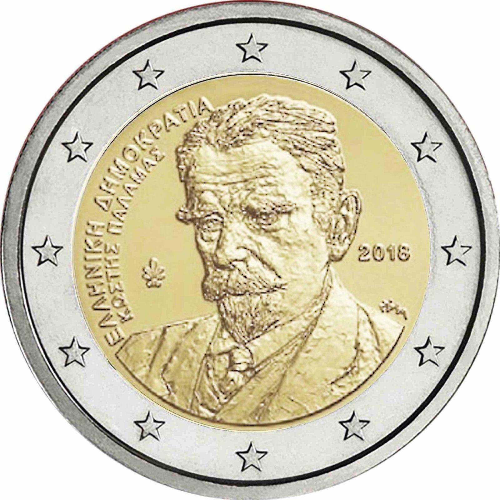 Греция 2 евро 2018 г. 75 лет со дня смерти Костиса Паламаса