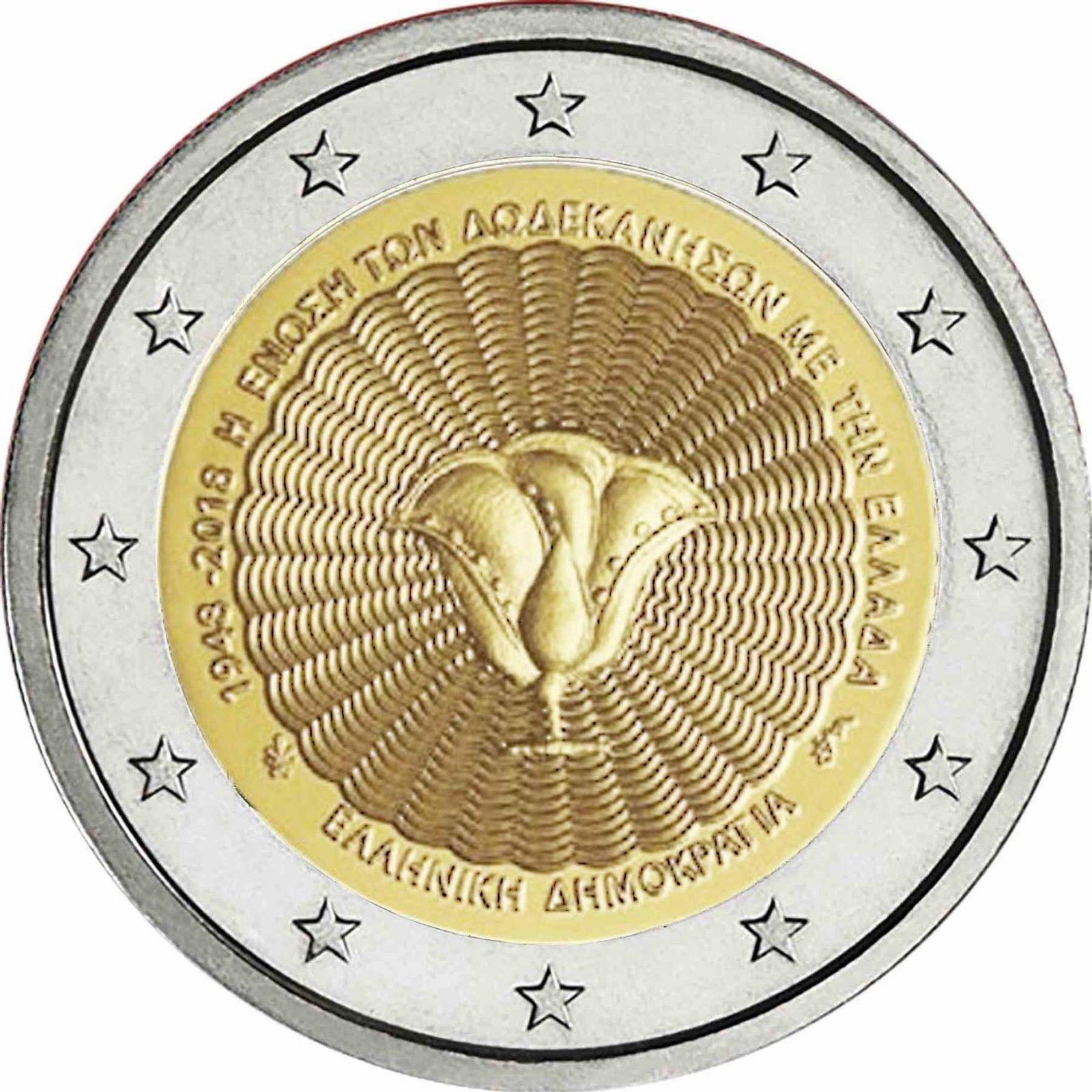 Греция 2 евро 2018 г. 70-летие союза островов Додеканес с Грецией