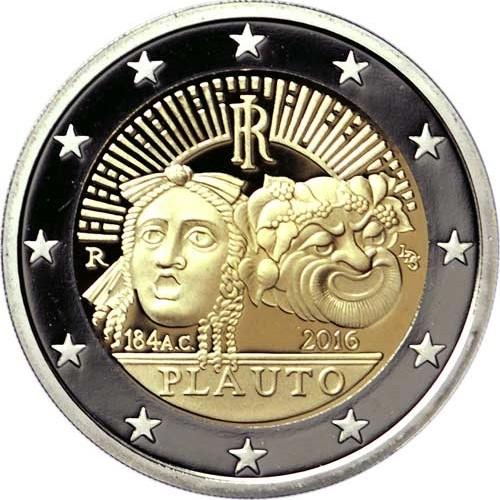 Италия 2 евро 2016 г.    Тит Макций Плавт