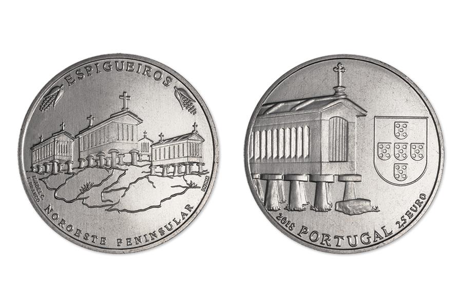 Португалия 2,5 евро 2018 г. Зернохранилища на северо-западе