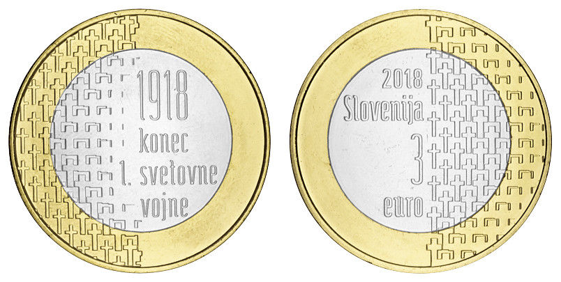 Словения 3 евро 2018 г. 100 лет окончания первой мировой войны