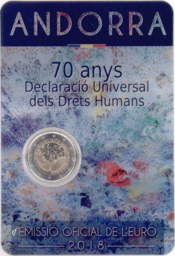 Андорра 2 евро 2018 г. 70-летие всеобщей декларации прав человека