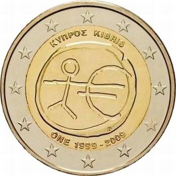 Кипр 2 евро 2009 г.   10 лет экономическому союзу