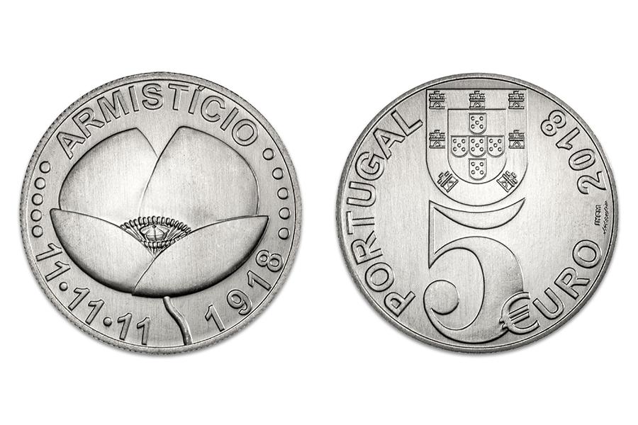 Португалия 5 евро 2018 г. 100 лет окончания первой мировой войны