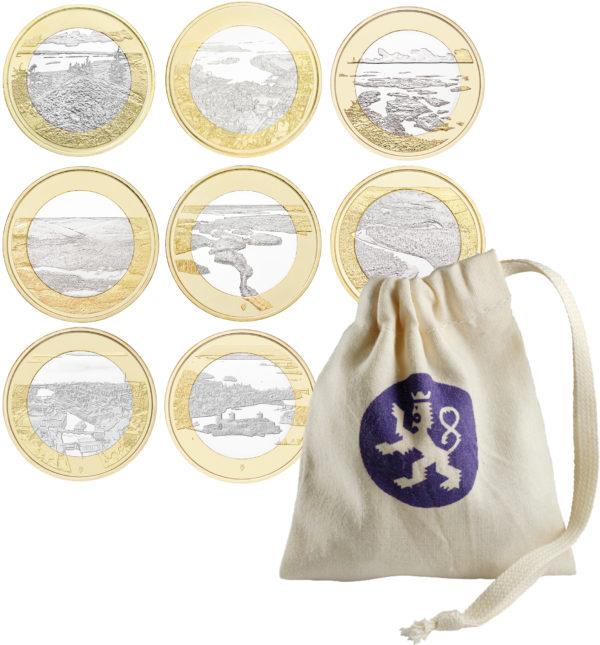 Финляндия 5 евро 2018 г. Национальные ландшафты (9 монет)