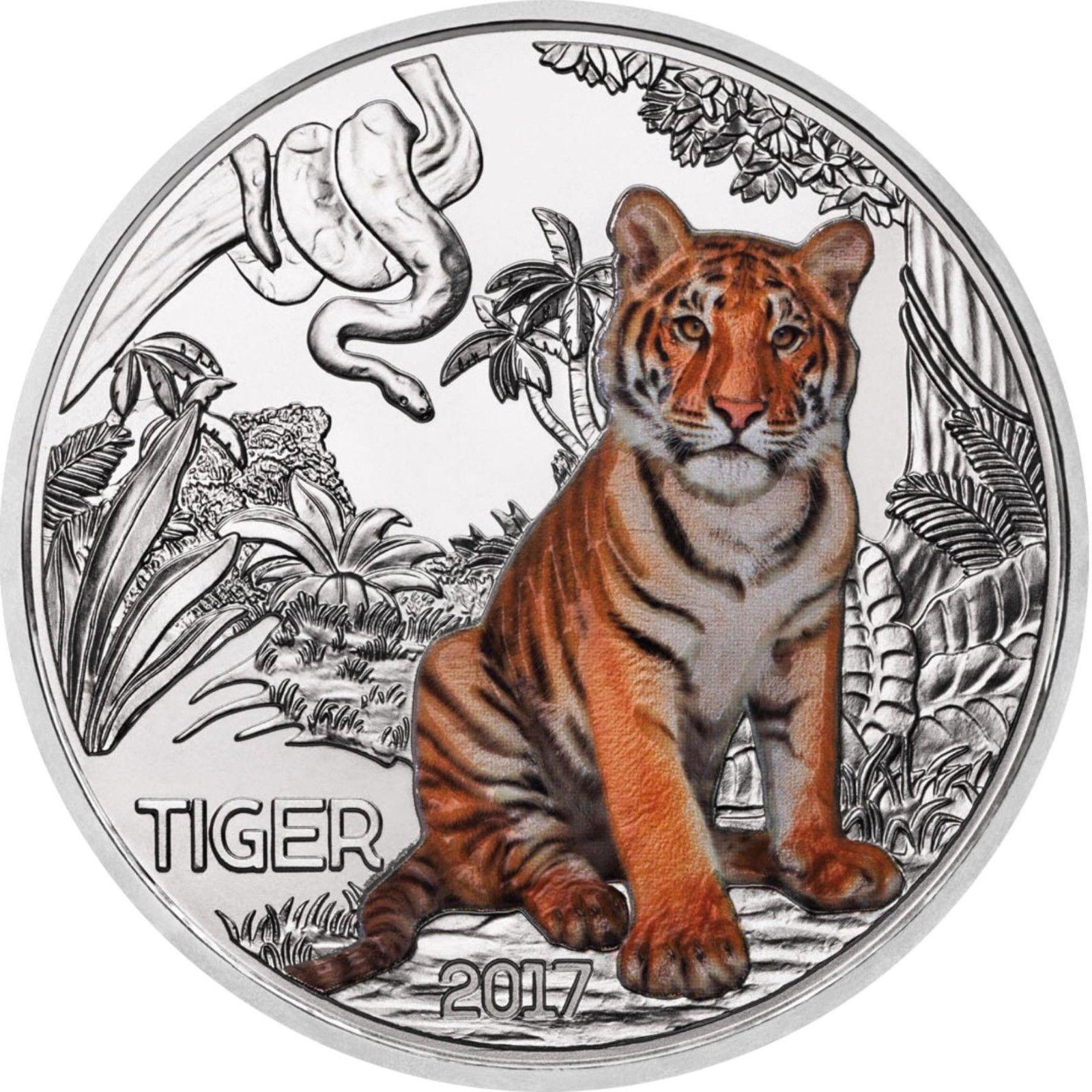 Австрия 3 евро 2017 г. Тигр