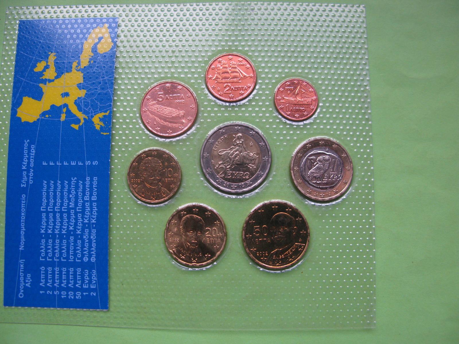 Греция официальный набор евро монет 2002 г. F, E ,S