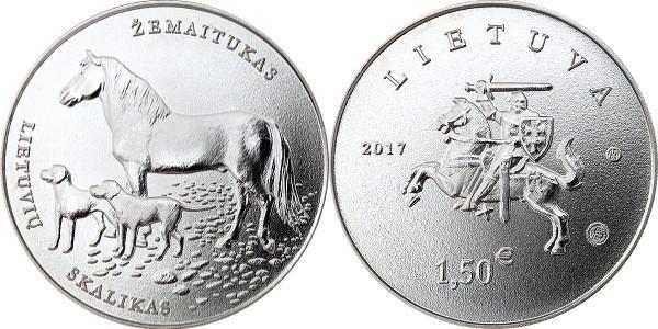 Литва 1,5 евро 2017 г. Литовская гончая и Жемайтская лошадь