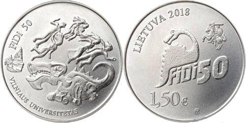 Литва 1,5 евро 2018 г. 50 лет факультету физики Вильнюсского университета