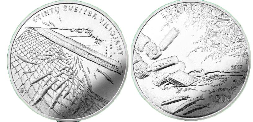 Литва 1,5 евро 2019 г. Ловля корюшки традиционным способом заманивания