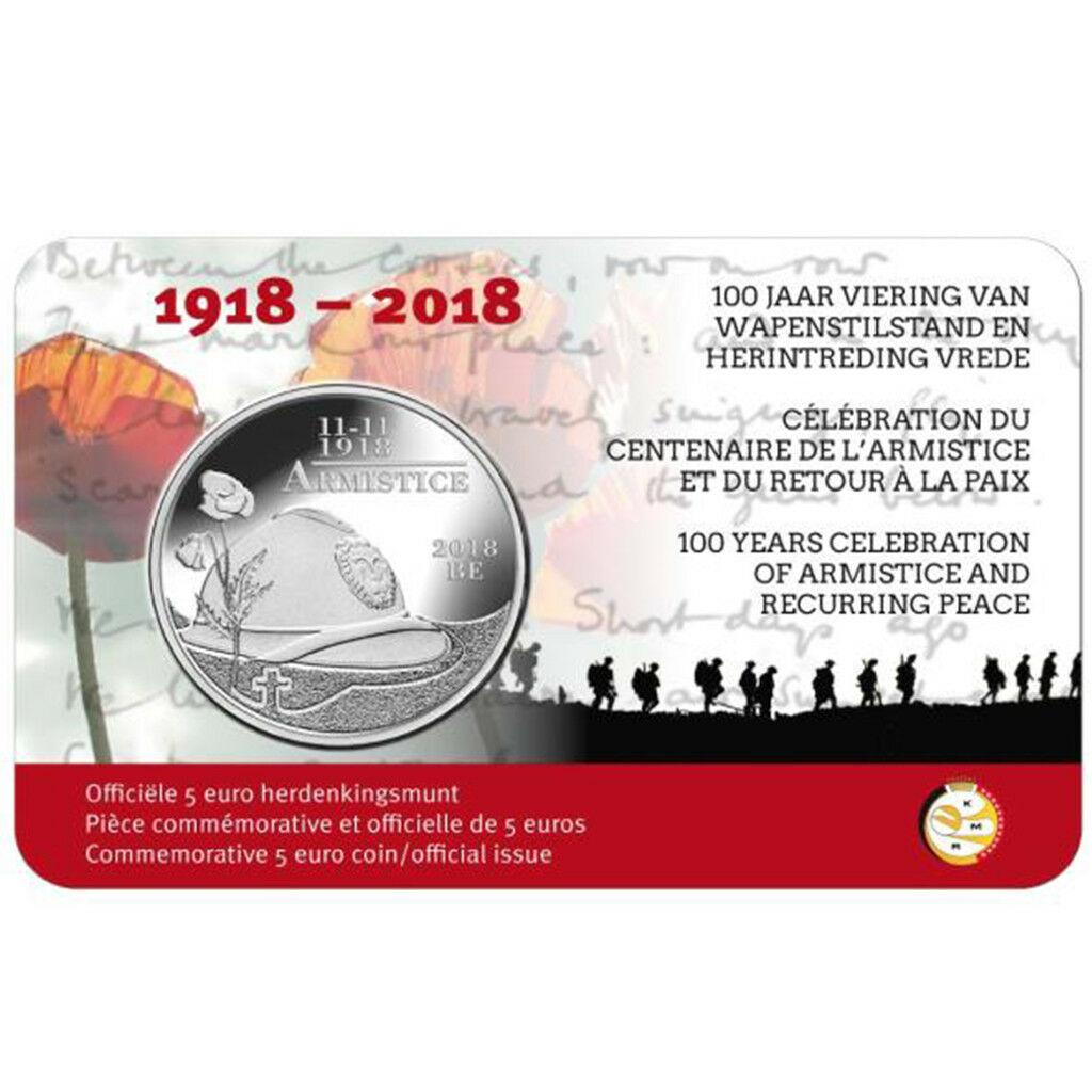 Бельгия 5 евро 2018 г. 100 лет окончания первой мировой войны