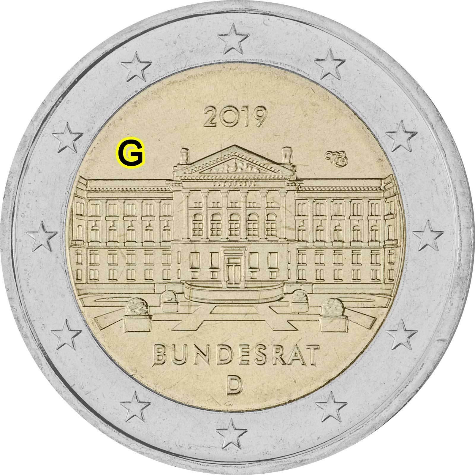 Германия 2 евро 2019 г. Бундесрат (D)