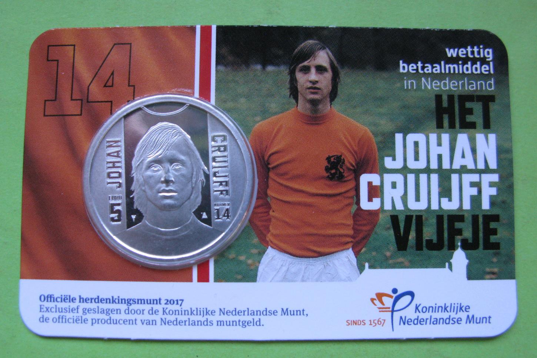 Нидерланды 5 евро 2017 г. 70 лет со дня рождения Йохана Кройффа