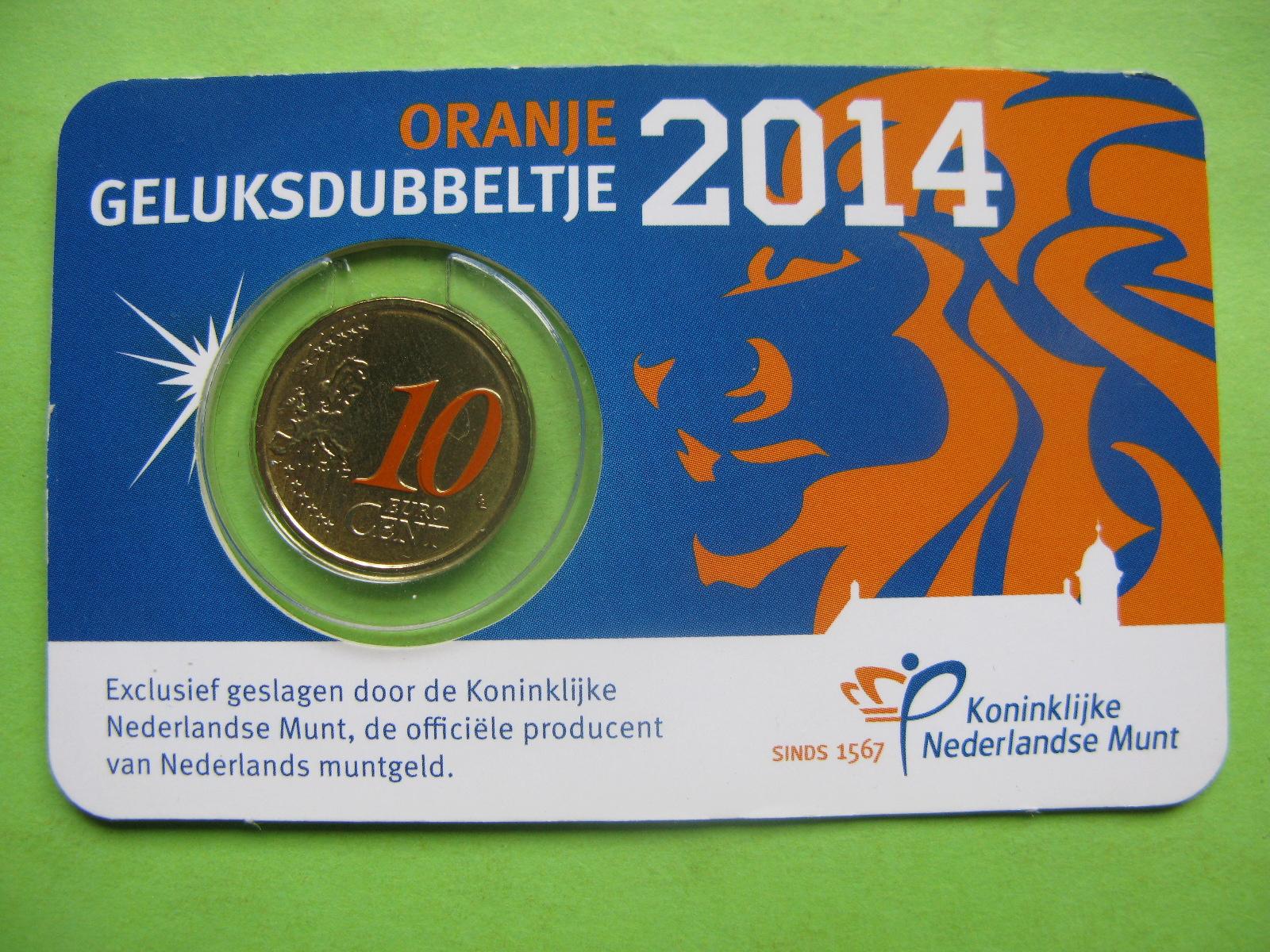 Нидерланды 10 евро центов 2014 г. в карточке.