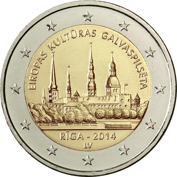 Латвия 2 евро 2014 г.  Рига - культурная столица Европы