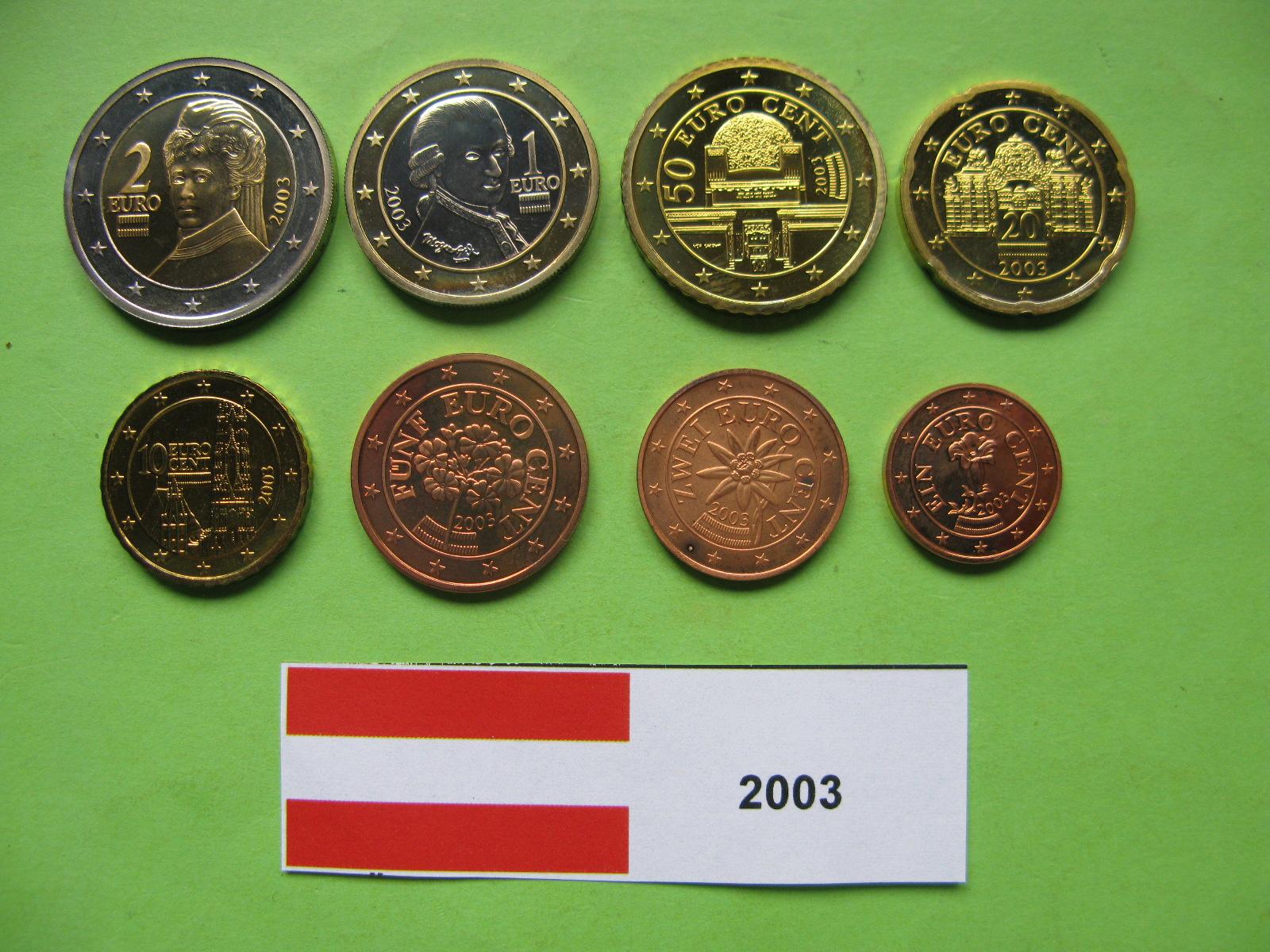 Австрия набор евро 2003  UNC