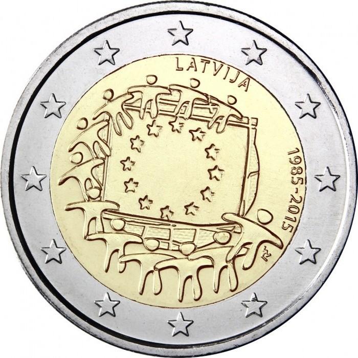 Латвия 2 евро 2015 г. 30 лет флагу Евросоюза