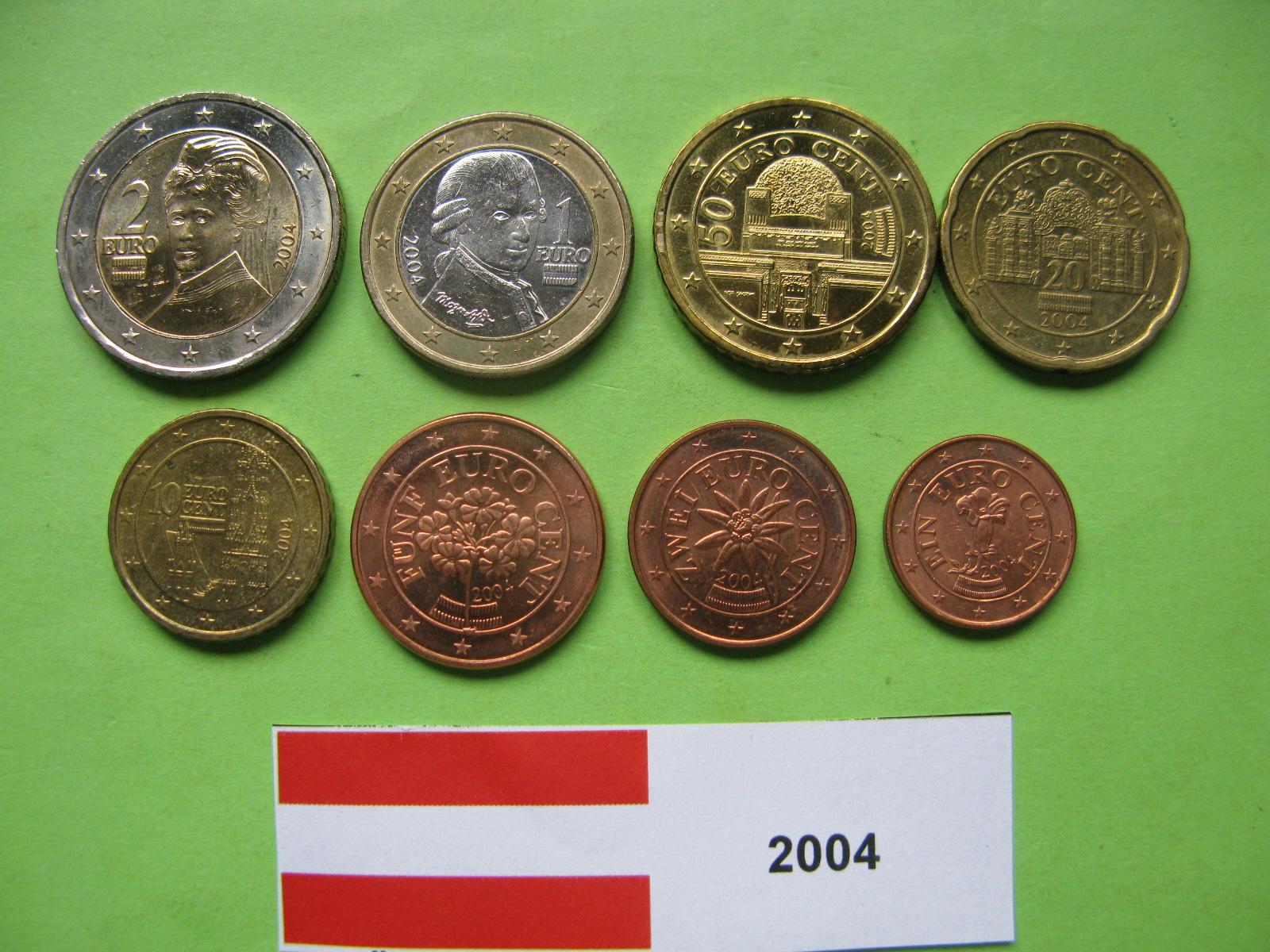 Австрия набор евро 2004  UNC