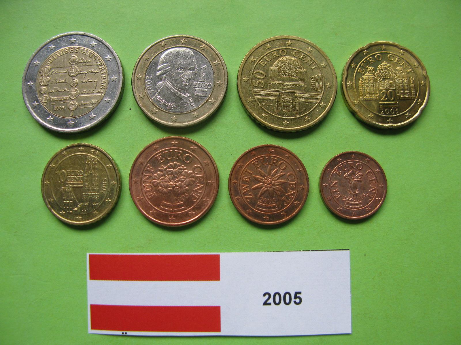 Австрия набор евро 2005  UNC ( юбилейная 2 евро)
