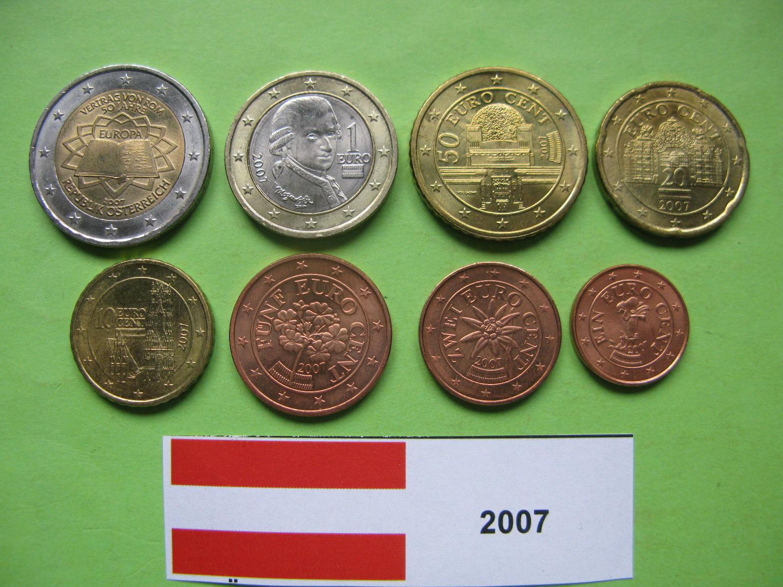 Австрия набор евро 2007  UNC ( юбилейная 2 евро)