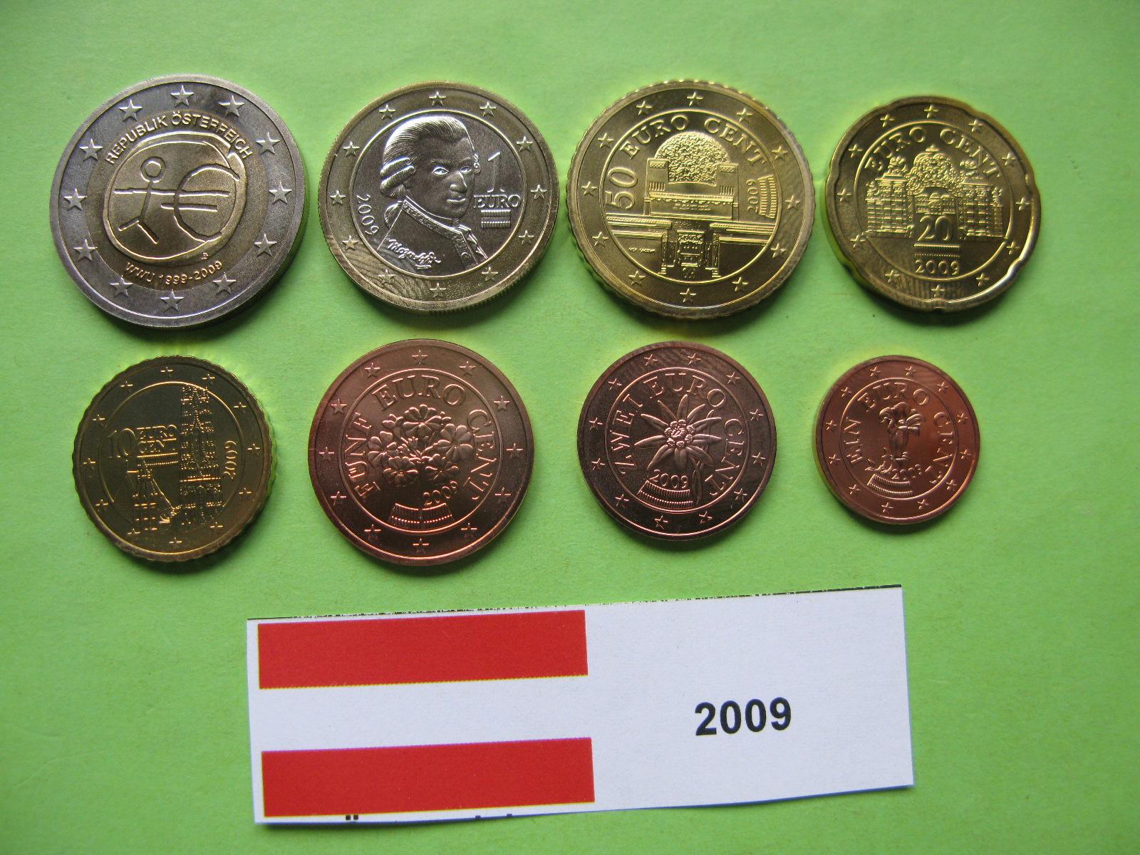 Австрия набор евро 2009  UNC ( юбилейная 2 евро)